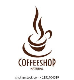 Natural coffeeshop and coffee cup for coffeehouse cafe or cafeteria and coffee shop sign. Vector isolated icon of of steamy cappuccino or americano and espresso coffee mug