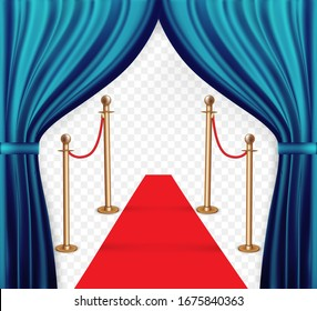 Natural color image of Curtain, open curtains Blue color along and Realistic golden barriers for fencing when entering a party, club, even. Vector illustration. EPS10