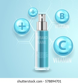 Natural cosmetic product, realistic tube or bottle. Body care concept with vitamins and minerals