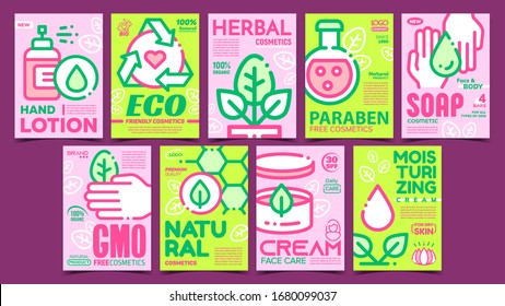 Natural Cosmetics Advertising Posters Set Vector. Eco Friendly And Herbal, Paraben And Gmo Free Cosmetics. Package With Hygiene Skincare Cream Concept Template Stylish Color Illustrations
