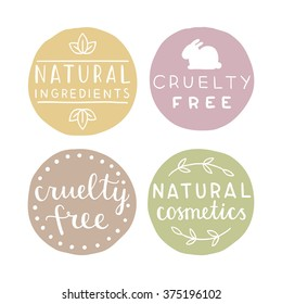Natural cosmetics badges, Vector hand drawn set