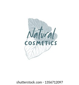 Natural cosmetics hand drawn logo template. Silhouette and outline monstera leaves drawing. Handwritten lettering and exotic leafage illustration. Skin care shop logotype linear design