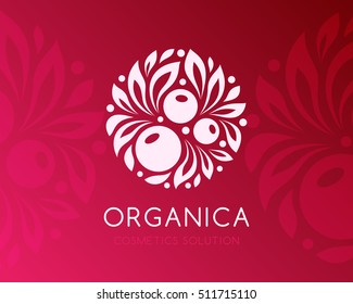Natural cosmetics logo. Berry with leaves. Round emblem. Vector label template. Alternative medicine symbol