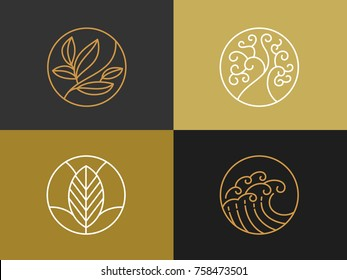 Natural cosmetics  logo. Brand identity  with line style and luxury symbol. Vector illustration.