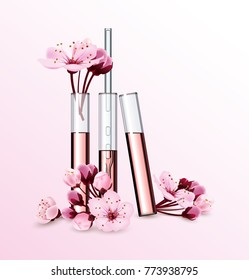 Natural cosmetics. Perfume. Flower extract in vitro.Cosmetic ads template with cherry blossom , glass droplet bottle with essence oil .3D illustration. Q10 and other ingredients on poster. Vector
