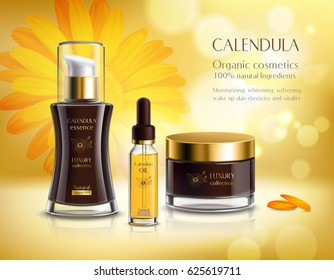 Natural cosmetics skincare products realistic advertisement poster with calendula extract cream and oil bright background vector illustration