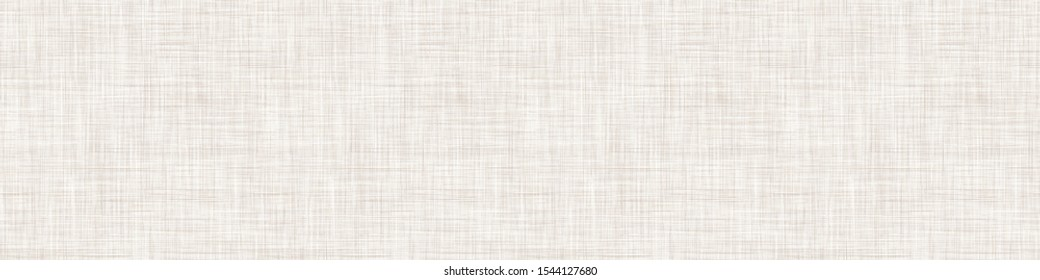 Natural Cream  French Linen Texture Border Background. Old Ecru Flax Fibre Seamless Pattern. Organic Yarn Close Up Weave Fabric Ribbon Trim Banner. Sack Cloth Packaging, Canvas Edging. Vector EPS10