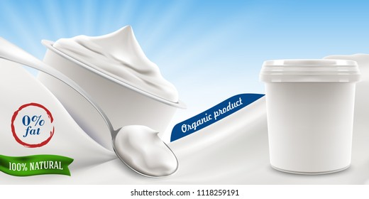 Natural cream or yogurt ads with blank jar in milk wave commercial product mock-up vector realistic illustration, can be used for ice-cream packaging design