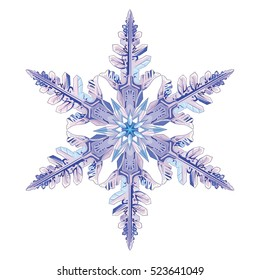 Natural crystal snowflake, isolated on white, vector illustration