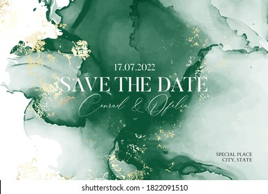Natural deep green abstract watercolor art. Marbled oainiting Emerald Tender background.  Marble texture, resin alcohol ink flow  in vector.