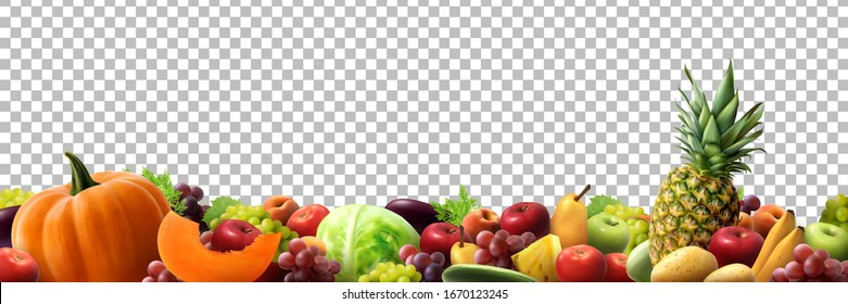Natural delicious fruits border for  summer market in transparent background. realistic vector illustration.