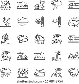 Natural Disaster 25 Set Outline Icon Pack