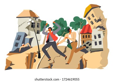 Natural disaster or calamity, earthquake and destruction of houses. Running people escaping from breaking constructions. Destroyed buildings, apocalypse or calamity in town, vector in flat style
