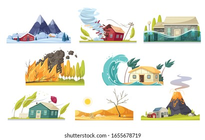 Natural disaster cartoon style set of isolated compositions with various kinds of elemental calamities and catastrophes vector illustration