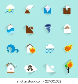 Natural disaster catastrophe and crisis icons flat set isolated vector illustration