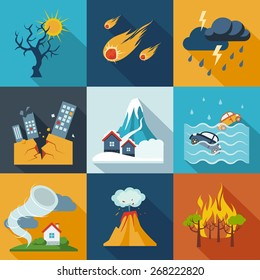 Natural disaster catastrophe and crisis icons flat set vector