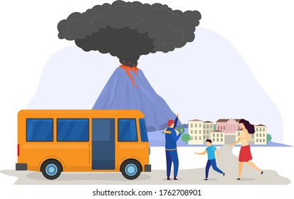 Natural disaster cloud eruption volcano evacuation, rescue save people population from catastrophe city isolated on white, cartoon vector illustration. Person together running to salvage bus.