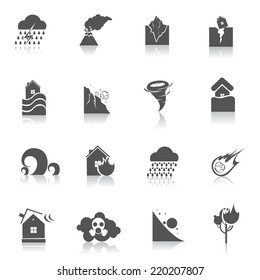 Natural disaster environmental catastrophe icons black set isolated vector illustration