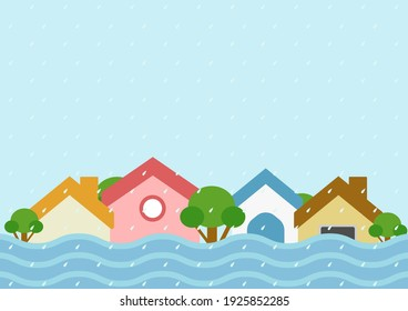 Natural disaster and flood disaster in the city concept. flooding in the city. Vector illustration.