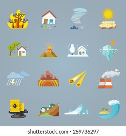 Natural disaster icons flat set with hurricane tornado forest fire isolated vector illustration