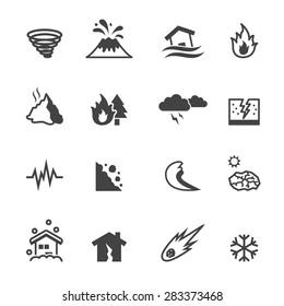 natural disaster icons, mono vector symbols