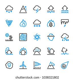 Natural disaster icons. Risks and dangers, which are taken into account in the insurance of housing