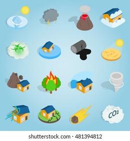 Natural disaster icons set. Isometric 3d illustration of natural disaster vector icons for any web design. Landslide sign