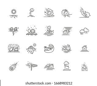 natural disaster icons thin line