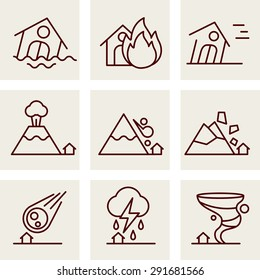 Natural Disaster Icons vector line style