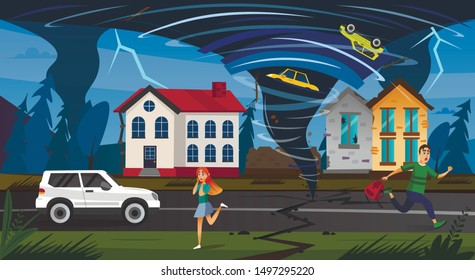 Natural Disaster. Scary People Run Street, Tornado Funnel Whirlwind Crush Car in Air, Damage Building Vector Illustration. Nature Catastrophe, Hurricane Danger, Storm Weather Warning