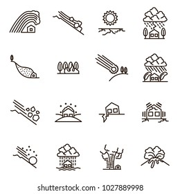 Natural Disaster Signs Black Thin Line Icon Set Include of Earthquake, Fire, Hurricane, Storm, Volcano, Tornado and Wave. Vector illustration