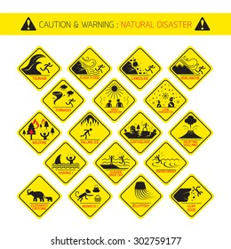 Natural Disaster Warning Signs, Caution, Danger, Hazard Symbol Set