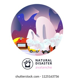 Natural disaster.Avalanche.Snow avalanche in mountains covered cottage roof,trees,cars.Strong snowfall in winter. Snowslide or snowslip.Flat,vector,cartoon. Avalanche. Natural disaster. Disaster.