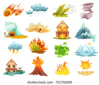 Natural disasters cartoon set of  icons with fires, tsunami, flood, volcano eruption, ice melting isolated vector illustration