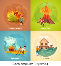 Natural disasters design concept with forest fires, volcano eruption, tsunami, flood isolated on color background vector illustration