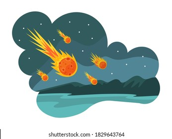 Natural disasters falling meteorites. Falling meteorites and asteroids on ground next to forest. Cataclysm, destruction of nature. Armageddon, catastrophe, danger fire cartoon vector illustration