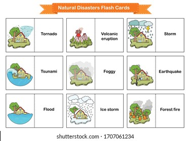 Natural Disasters Flash Cards - Collection оf cataclysms volcanic eruption and snow avalanche and flood. Flashcards for education.