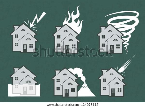 Natural Disasters House Icons