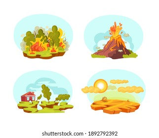 Natural disasters set. Wild landscape volcanic eruption, earthquake, forest fires, drought desert. Burning forest fires with burning trees. Drought disaster, water depletion cartoon vector