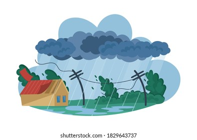 Natural disasters Tropical cyclones. Swirling tornado in village destroy houses, tropical rainstorm with strong wind breaks trees blows off roof of building. Huge wind, waterspout storm cartoon vector