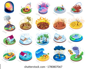 Natural disasters vector isometric or flat icons set, nature catastrophes and insurance damage accidents. Natural disasters flood, fire and tsunami, earthquake with hurricane tornado storm and volcano