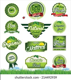 Natural eco green label collection