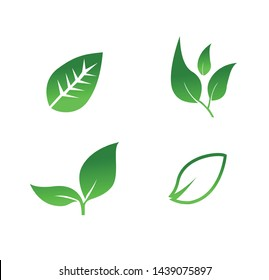 Natural element vector icon, simple and easy green leaves - Vector