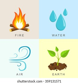 Natural Elements -Fire, Water,  Air and Earth. Vector illustration
