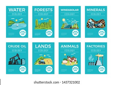 Natural environmental resources vertical banners set with ecology symbols flat isolated vector illustration