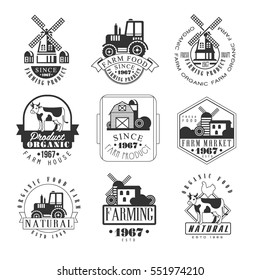 Natural Farm Products Black And White Sign Design Templates With Text And Tools Silhouettes