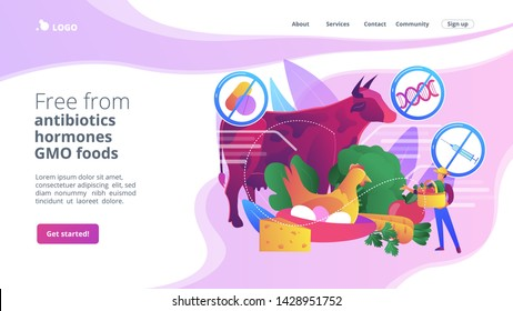 Natural farmers market goods, eco vegetables. Free from antibiotics hormones GMO foods, organic nutrition products, choose healthy foods concept. Bright vibrant violet vector isolated illustration