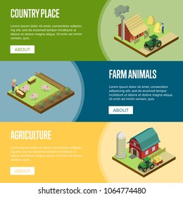 Natural farming isometric horizontal flyers. Hay making and pigs breeding, tractor near rural farm barn. Agriculture industry, traditional agrobusiness, countryside eco products vector illustration