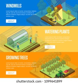 Natural farming isometric horizontal flyers. Crop harvesting, watering plants, windmill in rural landscape. Agriculture industry, traditional agrobusiness, countryside eco products vector illustration