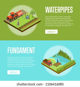 Natural farming isometric horizontal flyers. Man fishing in lake and watering plants. Agriculture industry, traditional agrobusiness, countryside farmland, eco products vector illustration.